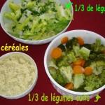 Menu équilibré n° 1 : Millet aux carottes et brocolis, salade